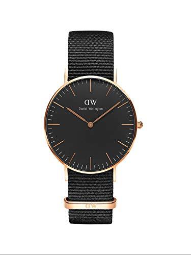Daniel Wellington Classic Cornwall, Schwarz/Roségold Uhr, 36mm, NATO, für Damen und Herren