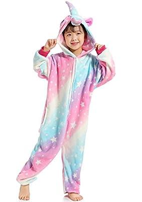 Pijama infantil de unicornio, unisex, una pieza, disfraz para Halloween o disfraz de animal Estrella-2 140 cm