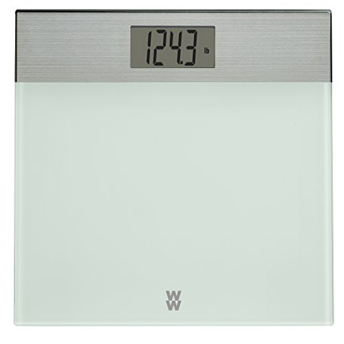 WW Scales by Conair Digital Painted Glass and Brushed Stainless Steel Bathroom Scale, 400lb. capacity