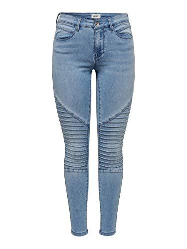 ONLY Damen ONLROYAL REG SK Biker ANK BB BJ14951-2 Skinny Jeans, Light Blue Denim, 34/L32 (Herstellergröße: XS)