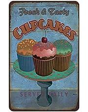 Cup Cakes Teken Vintage Metalen Schilderij Cafe Vintage Tin Muur Teken, Reclame Vintage Deco Metalen Muur Kunst Teken Decoratie Tin Schilderen Poster