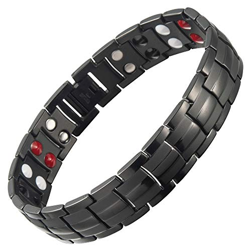 Premium Black Titanium Magnetic Bracelet for Men & Women with Free Link Removal Tool by Bislinks - Designed to Relive The Symptoms of Arthritis & Carpal Tunnel Joint Pain Relief Magnet Bracelets