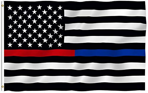 Anley Fly Breeze 3x5 Foot Thin Blue Line and Red Line USA Polyester Flag - Vivid Color and Fade Proof - Honoring Law Enforcement Officers and Firefighter Polyester Flags 3 X 5 Ft