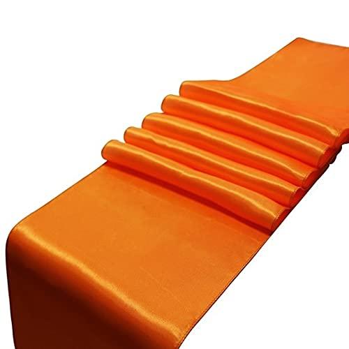 HUANGRONG Camino de mesa de satén para decoración de bodas, fiestas, decoración moderna de mesa para el hogar, hecha a mano, color naranja coral