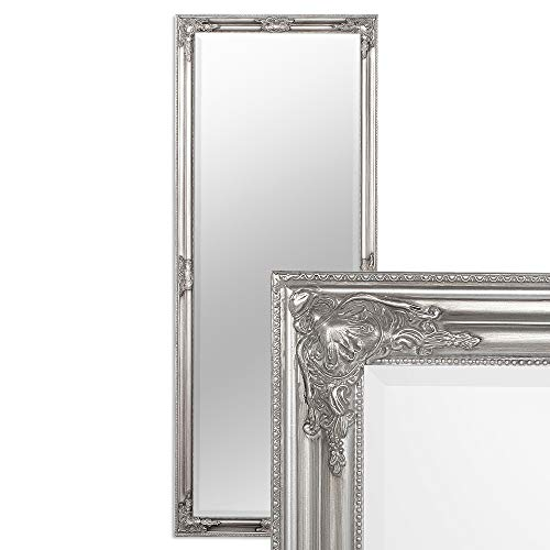 LEBENSwohnART Wandspiegel BESSA 160x60cm Silber antik barock Design Spiegel pompös Holzrahmen