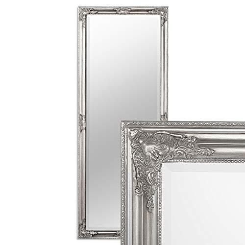 LEBENSwohnART Wandspiegel BESSA Silber antik 180x70cm barock Design Spiegel pompös Holzrahmen