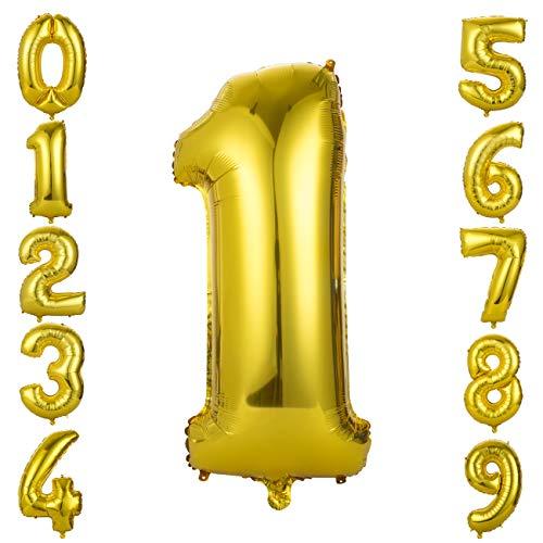 GWHOLE Globos Número 1, Globo Color Oro Globo Grande de Aluminio 1 2 3 4 5 6 7 8 9, Globos para Fiestas de Cumpleaños, Aniversario