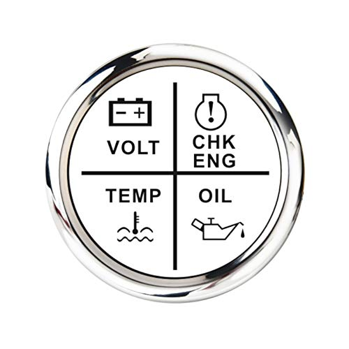 shiqi 52 mm Medidor de Alarma Medidor Volt/Presión de Aceite/Tempera DE Agua/Motor DE Cheque 4 LED Indicador de Alarma Indicador Ajuste para Barco Marino Coche 9~32 V (Color : White Silver)