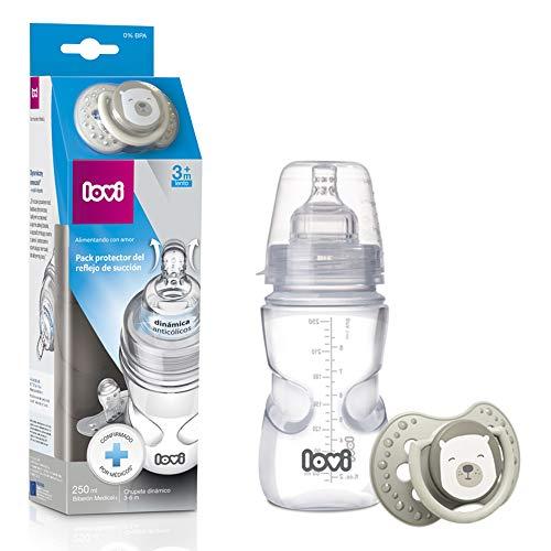 LOVI Pack Protector del Reflejo de Succión: Biberón 250ml y chupete Dinámico 3-6 meses 1