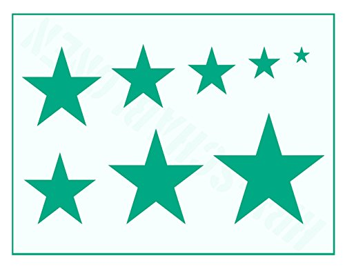 Plantilla con diseño de 8 estrellas de 1 cm a 7 cm.