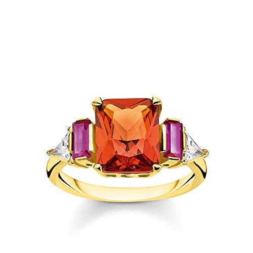 Thomas Sabo Damen-Ring Farbige Steine gold 925 Sterlingsilber gelbgold vergoldet TR2262-488-7-52