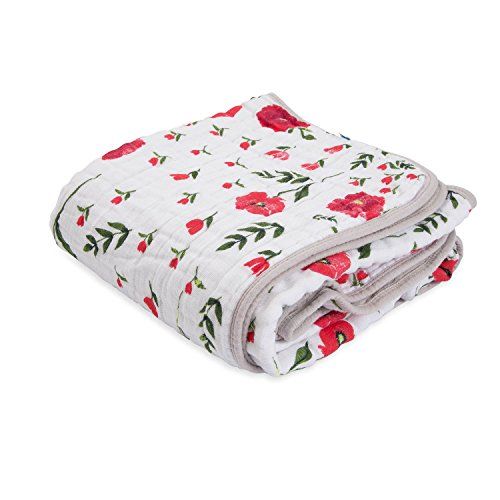 """Little Unicorn – Summer Poppy Cotton Muslin Quilt Blanket   100% Cotton   Super Soft  Babies and Toddlers   Large 47"""" x 47""""   Machine Washable"""