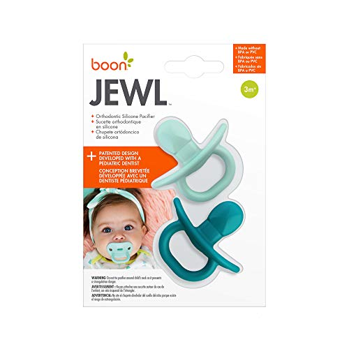 Boon Jewl Orthodontic Silicone Stage 2 Pacifier, Blue, (Pack of 2)
