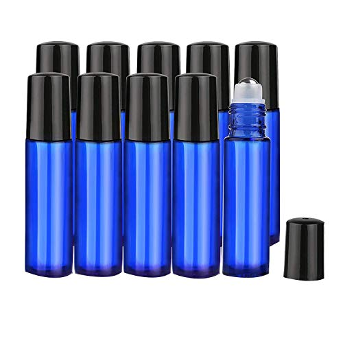 HLPIGF Botellas de Rodillo de Aceite Esencial, 10 Ml (Azul Cobalto, Paquete de 10) - Color por Botella, Rodillo de Acero Inoxidable