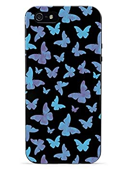 Inspired Cases - 3D Textured iPhone 5c Case - Rubber Bumper Cover - Protective Phone Case for Apple iPhone 5c - Blue Butterflies - Black