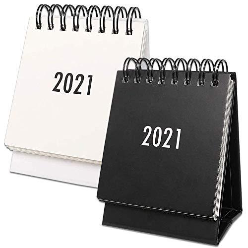 2 piezas Calendario de Escritorio,Mini lindo Accesorios,para la Oficina en Casa Calendario,Diseño Simple,en Blanco y Negro
