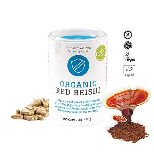 Organic Red Reishi Mushroom | Ganoderma lucidum | Immune System | Host Defence | Allergies | Grown 100% in EU | 180 caps x 500mg | Vegan + GF | Eco Packaging | No 'Non - EU Agriculture' - New