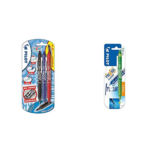 Pilot FriXion Clicker - Bolígrafo roller de gel de tinta borrable (3 unidades), color negro, rojo y azul + NFCVL - Bolígrafo, color verde