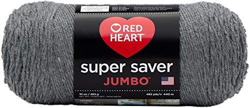 "Red Heart ""Super Saver Jumbo"" Strickgarn, 073650013508 GRAY HEATHER"