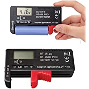 ZffXH Battery Tester 2 PCS for 9V 3.7V 1.5V AA AAA Cell C D 18650 Battery – Easy to Read, Digit Indicates