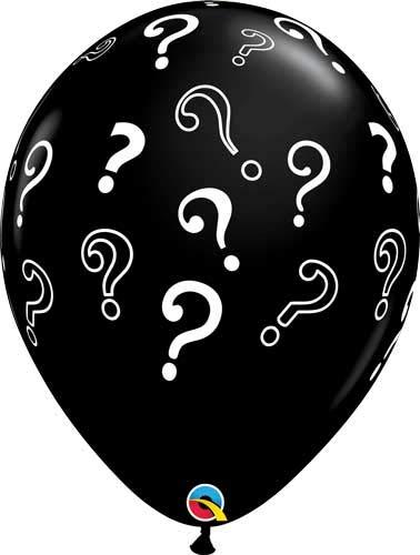 Qualatex Riesenballons Fragezeichen question Marks Babyparty Babyshower, ca. 40 cm Durchmesser, 5 St.