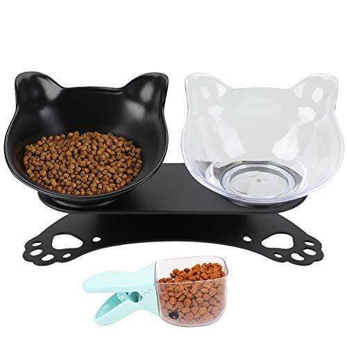 Legendog Cuenco del Gato, Determinado Antideslizante Cuello inclinable Tazón Protector del alimento para Mascotas con Cucharada de Comida (Black)