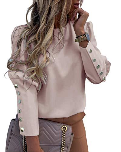 Top de mujer de manga larga, botones de metal, cuello redondo, suéter sin capucha, estampado de letras y blusa de mujer elegante