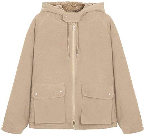 Chaqueta de abrigo con capucha para mujer, ajuste holgado, con bolsillos