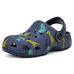 4. seannel Store Boys Slip-on Navy Blue Dinosaur Clogs