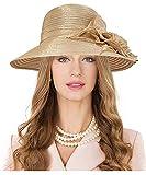 Carnavalife Sombrero de Boda con Flores para Mujer, Gorro Nupcial para Vestido de Novia, Tocado de Iglesia Derby para Fiesta de Té, Talla única (Oro)