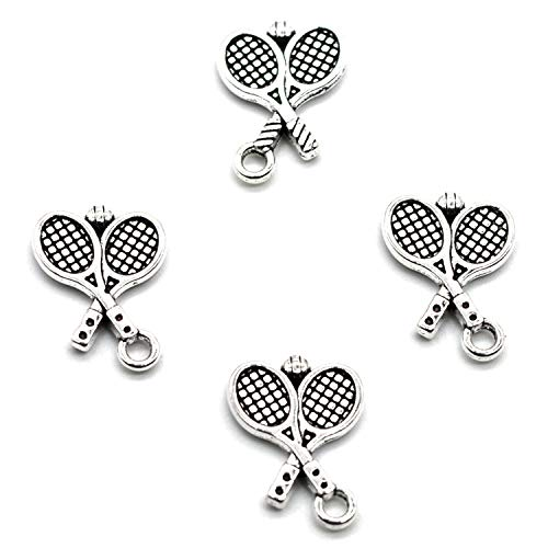 MT 2007 Alloy Charms, Silver Tone Handmade Supply Charms, Handmade Craft, Handmade Jewelry Supply (50PCS CC90 Racket Charms)
