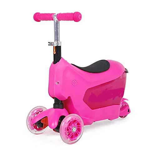 HDZW 4 Ruedas niños pequeños 2 en 1 Patada Scooter con Maleta y Seguro de handletrolley Scooter para niños diseño de Equipaje 4.23 (Color : Pink)