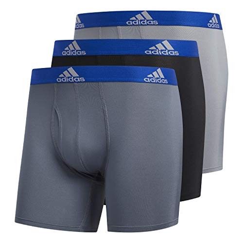 adidas Herren Performance Boxershorts Unterwäsche (3er-Pack), Onix/Collegiate Royal Black/Collegiate Royal Grey, Medium