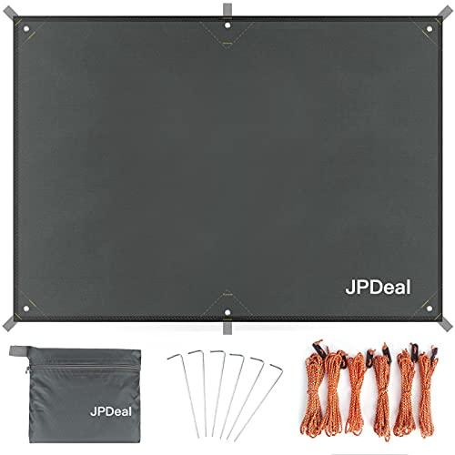 JPDeal グランドシート テントシート グラウンドシート 軽量 防水 紫外線カット レジャーシート 登山 タープ マット 1-6人に適用 収納バッグ付き グレー130
