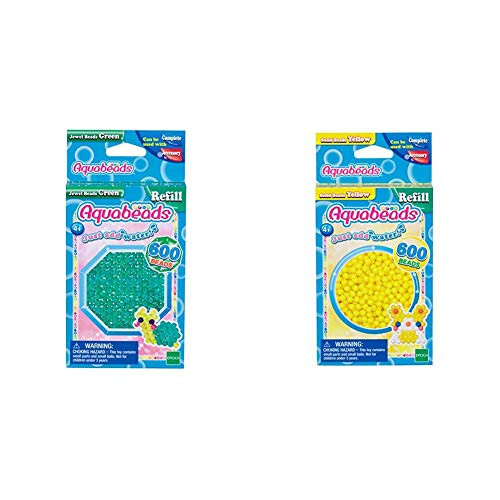 Aquabeads 32698 Glitzerperlen Bastelperlen nachfüllen grün & 32528 Perlen Bastelperlen nachfüllen gelb