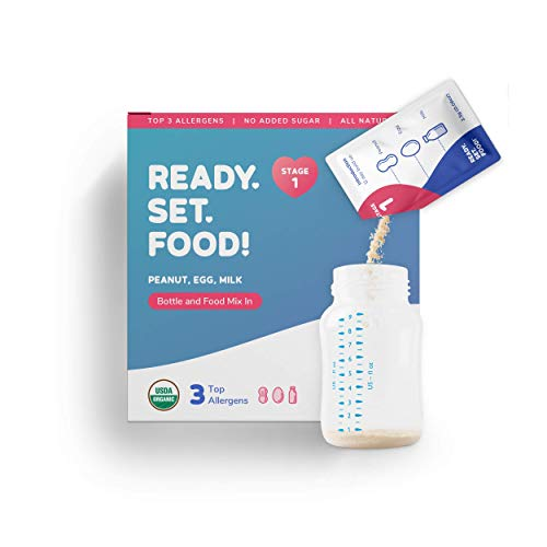Early Allergen Introduction Mix-ins for Babies 4+ Mo | Stage 1 - 30 Days | Introduce & Feed Top 3 Allergens - Organic Peanut Egg Milk | Safe Easy Effective | For Bottle or Food | Ready Set Food