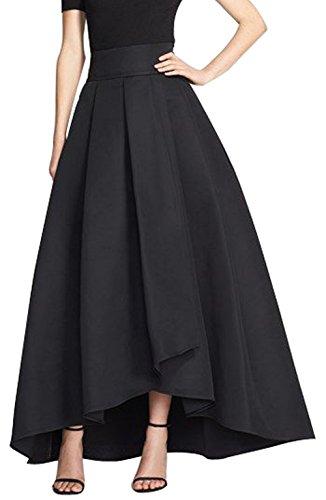 CoutureBridal® Damen Rock Vintage Elegant Faltenrock Asymmetrisch Abendrock A Linie Schwarz EU46