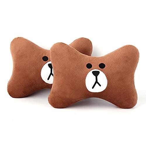 Tianmei 2PCS Cute Cartoon Pattern Car Headrest Pillow, Neck Rest Cushion Pillow, Car Neckrest Pad Head Support Pillow (Brown Bear - 1 Pair)