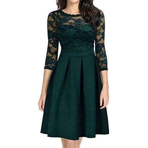 DAY8 Damen, bequem und atmungsaktiv Voller Kreativität Fashion Women Casual Plus Size Spitze Aushöhlen Dreiviertel Patchwork Kleid