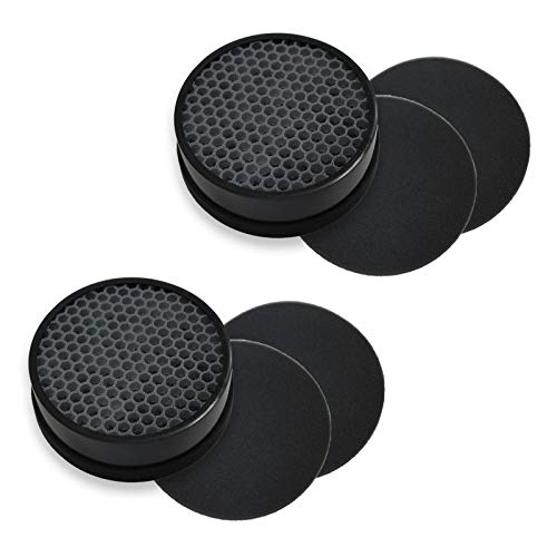 PUREBURG 2-Pack Replacement 2 HEPA Air Filters and 4 Activated Carbon Pre-Filters Compatible with GENIANI G-2000-FL Home Air Purifier and TCL Home Purifier KJ65F-A1 KJ65F-A2