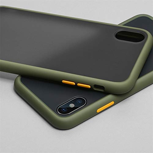 XLSJK Funda para Teléfono Luxury Transparent Matte Color Frame Phone Case For iPhone 6 6S 7 8 Plus X XS 11 Pro MAX XR Hard Pc Protective Back Cover Case For iPhone 8 Armygreen