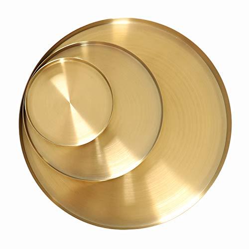 WZQZ Piastra Rotonda in Acciaio Inox Oro, Piastra di tè in Metallo Stile Nordico, Piatto Stoccaggio Display per Trucco Gioielli di Profumo