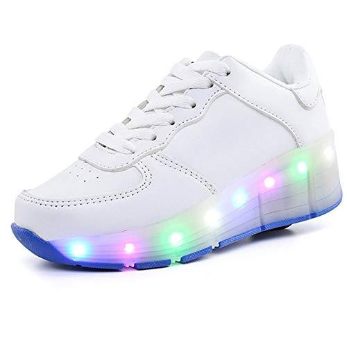 ZLFCRYP LED Blinken Rollschuh, Mit Rollen 7 Farben LED Lichter Blinken, Atmungsaktiv Mesh Sneaker Outdoor-Sportarten Skateboardschuhe White-36