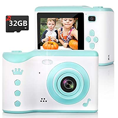 KIDWILL Kids Camera, 8.0MP Digital Dual Camera Rechargeable Shockproof Camcorder Camera with 2.8 Inch Touch Screen,32GB SD Card Included, Ideal Gift for 3-12 Years Old Girls Boys Party Outdoor(Green)