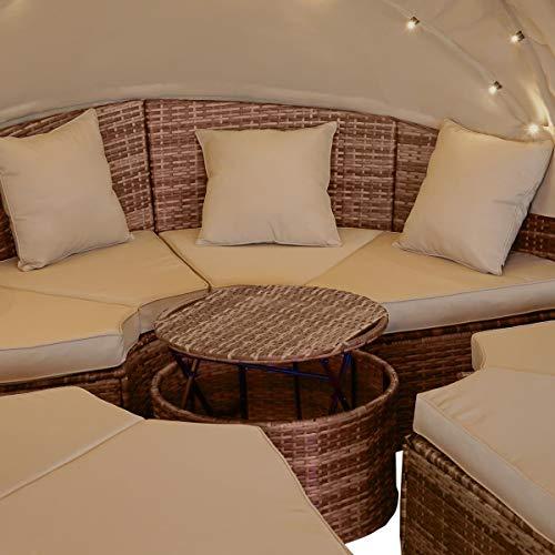 BRAST Poly Rattan Sonneninsel Braun/Cappuccino Ø210cm incl. Abdeckung + LEDs Garten Liege Insel Gartenmöbel Lounge Sitzgruppe 3 Farben - 5