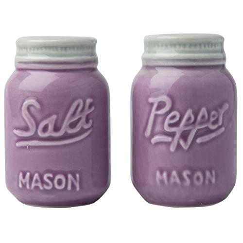 Comfify Vintage Mason Jar Salz & Pfeffer Streuer Bezauberndes dekoratives Mason Jar Dekor für Vintage-, Rustikal- und Shabby Chic-Liebhaber - Robustes Keramik in Violett - 3,5 oz. Kapazität