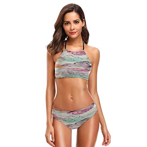 Conjunto de Bikini Halter de Cuello Alto de Fiesta de Bloque para...