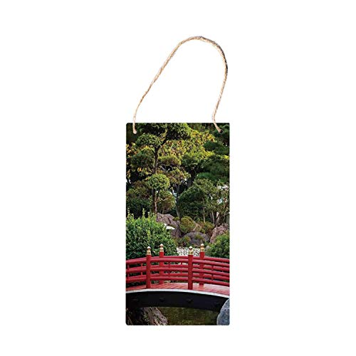 Signcat Pancarte en bois à suspendre pour décoration d'appartement, petit pont au-dessus du bassin, jardin japonais Monte Carlo Monaco avec arbres et plantes 12,7 x 25,4 cm