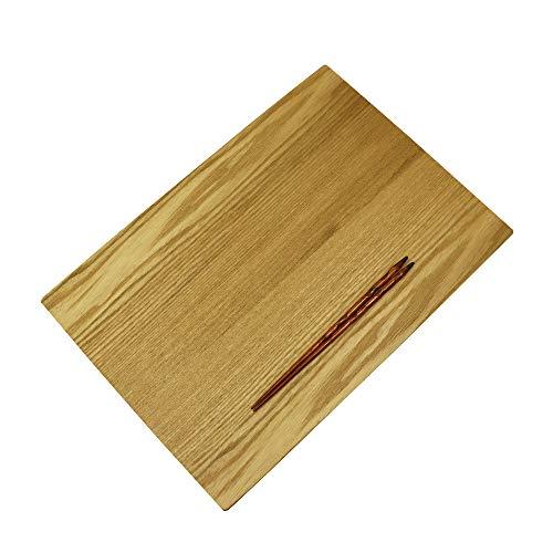 大阪長生堂 お盆 木製 ランチョンマット 山中塗 43cm 木製箸特典付き 茶 木目 漆塗り