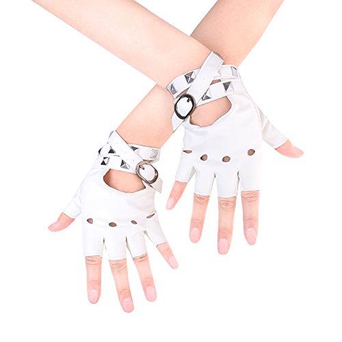 JISEN Women Punk Rivets Belt Up Half Finger PU Leather Performance Gloves White